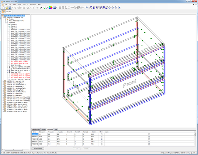 QuickCAM Product Editor - 3D wire-frame view